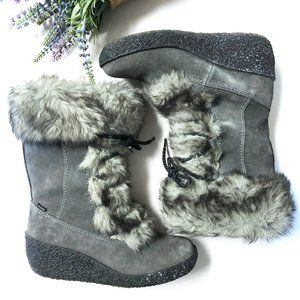 BRILLIANT WATERPROOF LEATHER WEDGE WINTER BOOTS